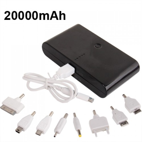 20000mAh Dual-USB Smart Mobile Power Bank External Battery with Nine Kinds of Connectors for iPhone 5 / 4 & 4S / New iPad / iPad 2 / PSP / Digital Cameras / Other Mobile Phones(Black)